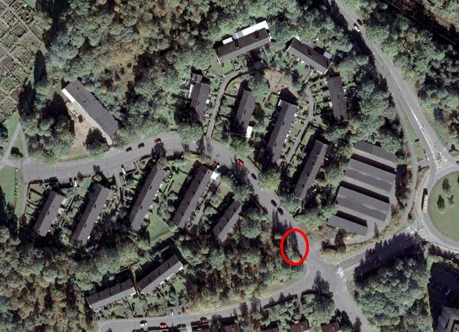 Satelitbild som visar var du kan kasta ditt hushållsavfall