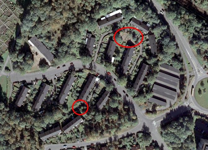 Satelitbild med lekparker markerade